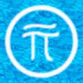 Image of the symbol pi in a circle drawn in white sand on blue water.