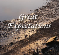 Image of water next to a muddy gritty shore with the words in white italic script: Great Expectations