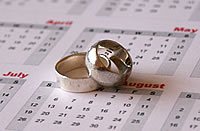 Image of two mismatched silver rings on a year calendar