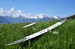 White Seagull glider in bright sunshine lying in the grass with the snow-topped Alps in the background