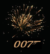 Image for Skyfall of a golden firework bursting against a black sky with 007 in gold below it