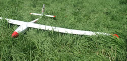 white foam glider with red wing tips on grass