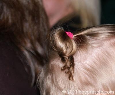 Little wedding guest's ponytail