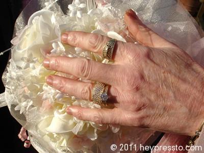 Bride's hand on wedding bouquet