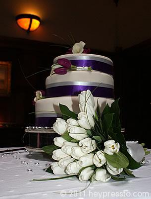 Wedding cake and bouquet