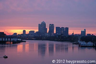 Canary Wharf Dappled Sunset