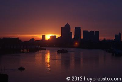 Canary Wharf Sunset Reflection #2