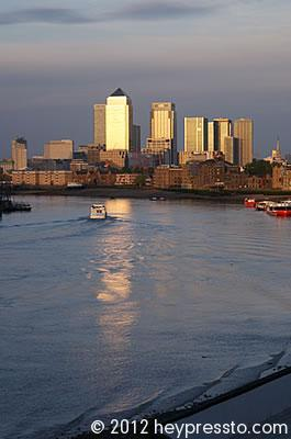 Canary Wharf Sunset With Red Boats