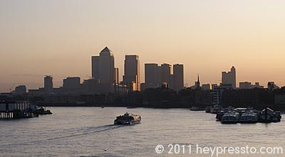 Canary Wharf Winter Sunset with Boat