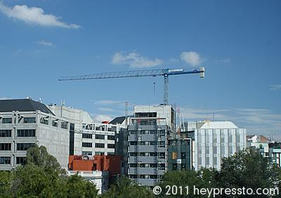 Crane in Madrid with Blue Sky