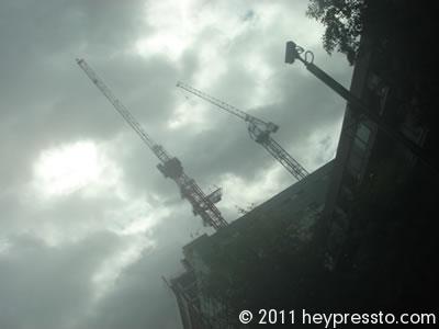 Cranes in a Storm