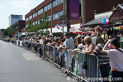 Crowds Lining Ballards Lane, Finchley on Olympic Torch Day