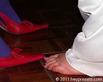 Feet of bride and guest