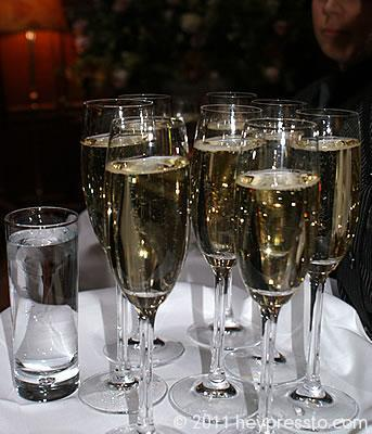 Champage glasses at wedding reception