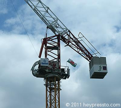 Mansell Crane with Welsh Flag