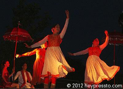 Three Kathak Dancers with Bride and Groom