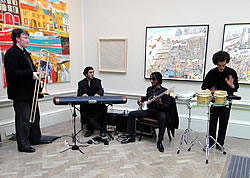Quartet playing in the entrance to the Royal Academy.